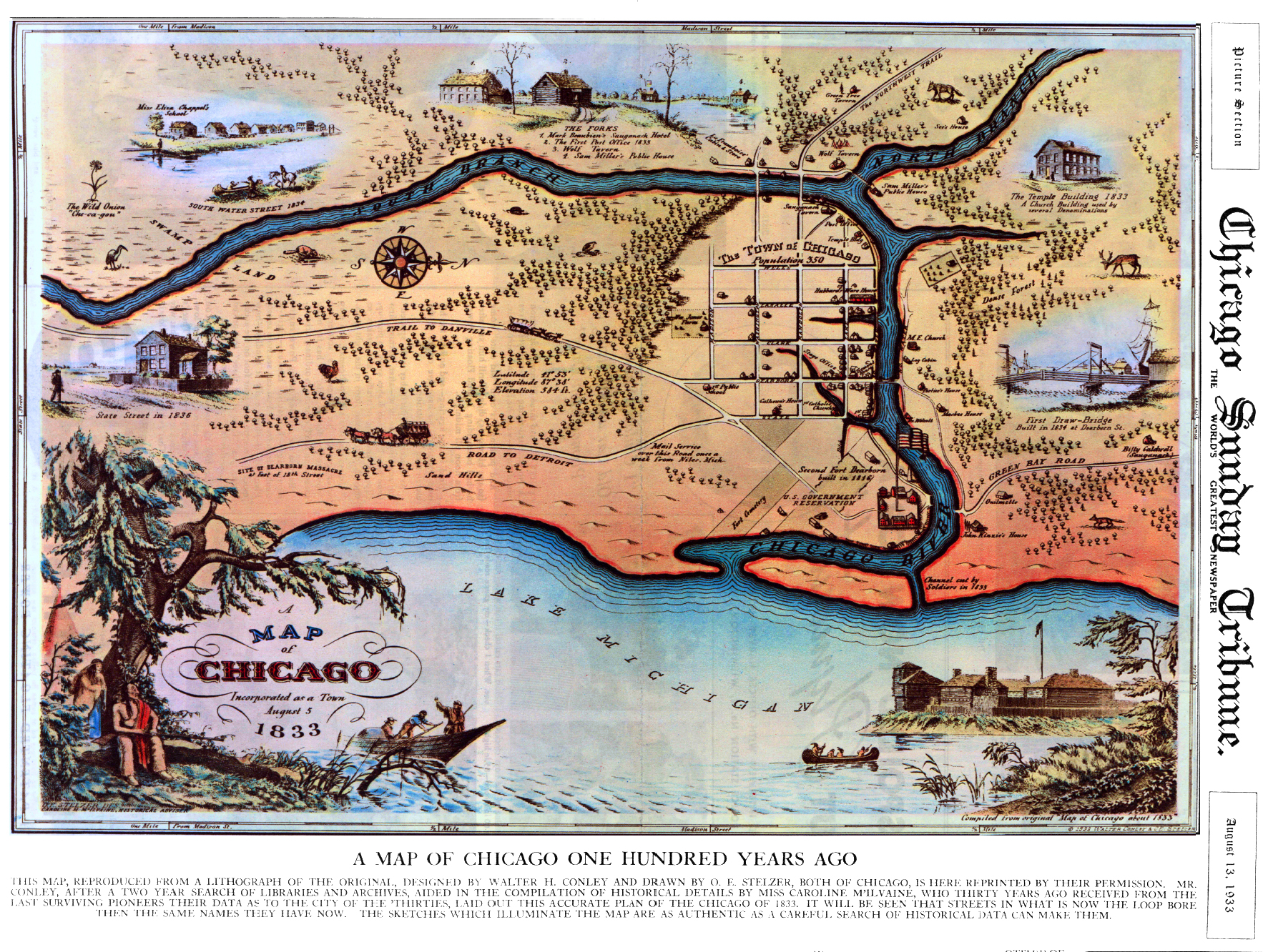Early Chicago Streets - Chicago map river