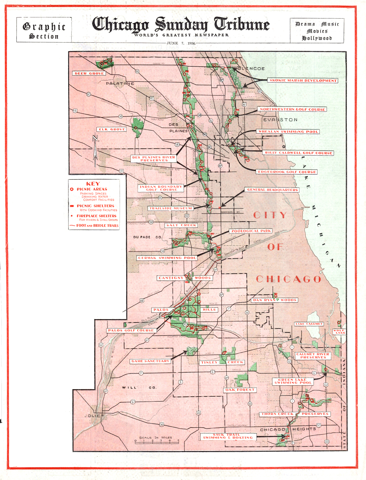 Chicagos Forest Preserves - Chicago map by county