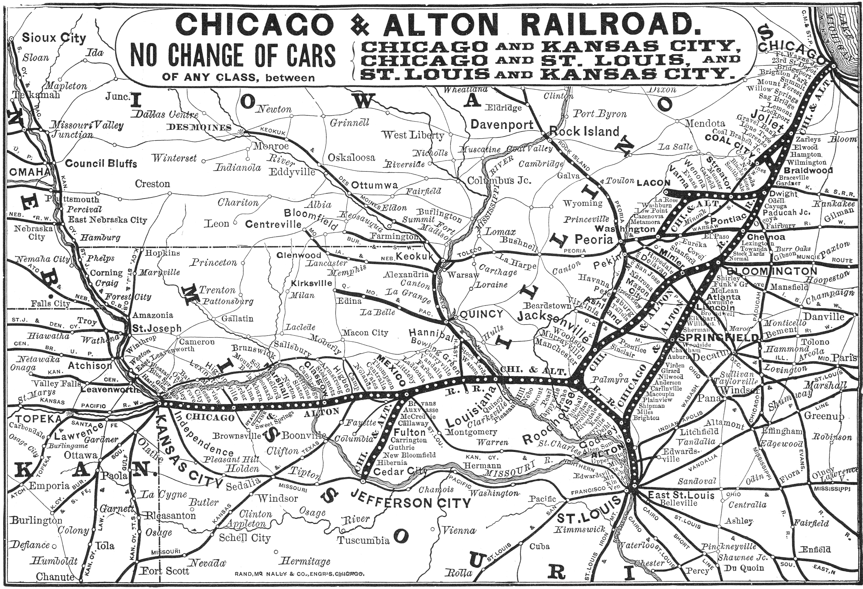 Chicago and Alton Railroad on bn railroad map, santa fe railroad map, union pacific railroad map, p&le railroad map, l&n railroad map, boct railroad map, norfolk southern train yard map, wc railroad map, csx railroad map, cn railroad map, bnsf track map, sp railroad map, kaw railroad map, texas railroad districts map, great northern railroad map, norfolk southern railroad map, dt&i railroad map, wabash railroad map, ihb railroad map, canada railroad map,