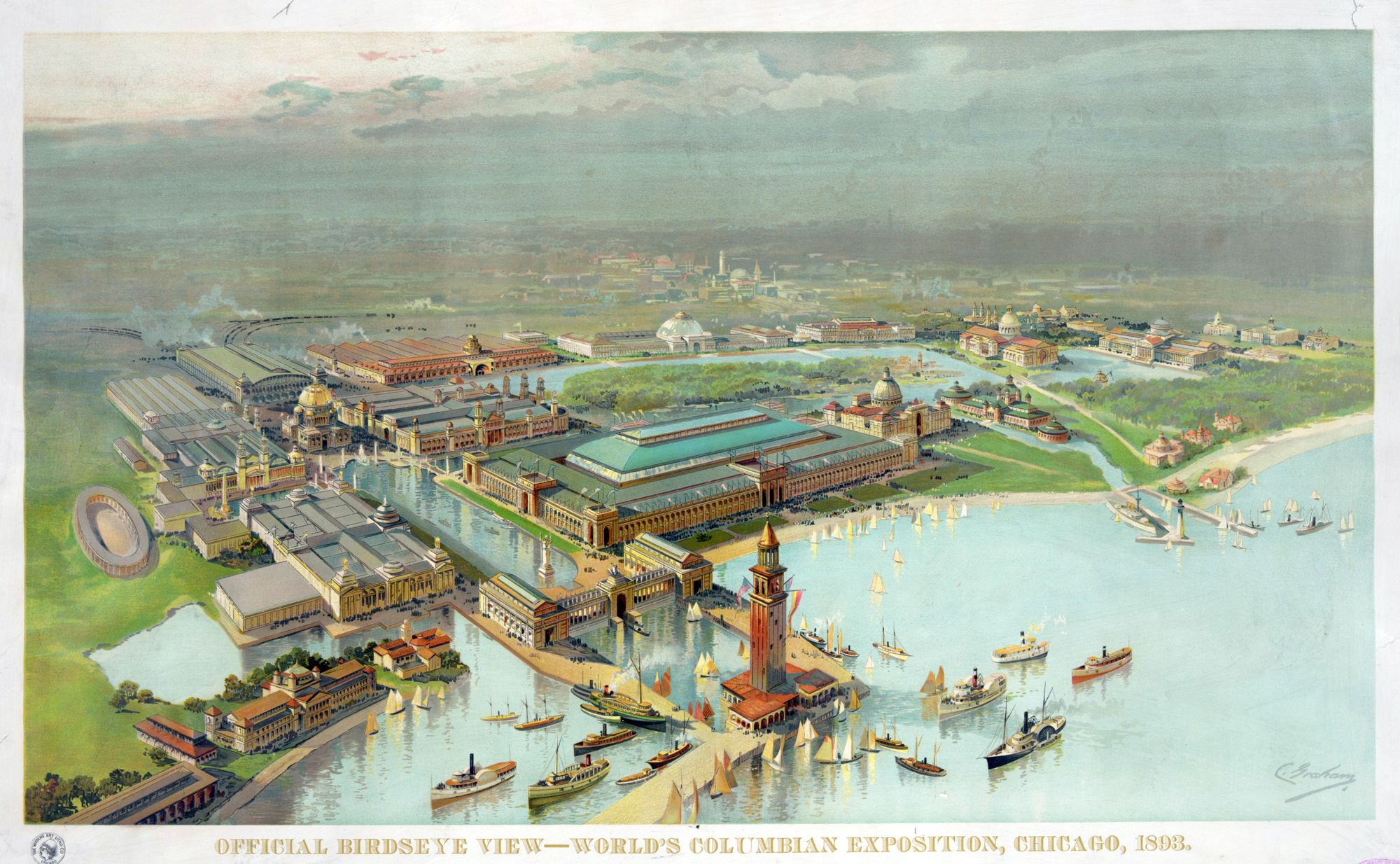 Chicago Columbian Exposition Map Souvenir Maps and Posters