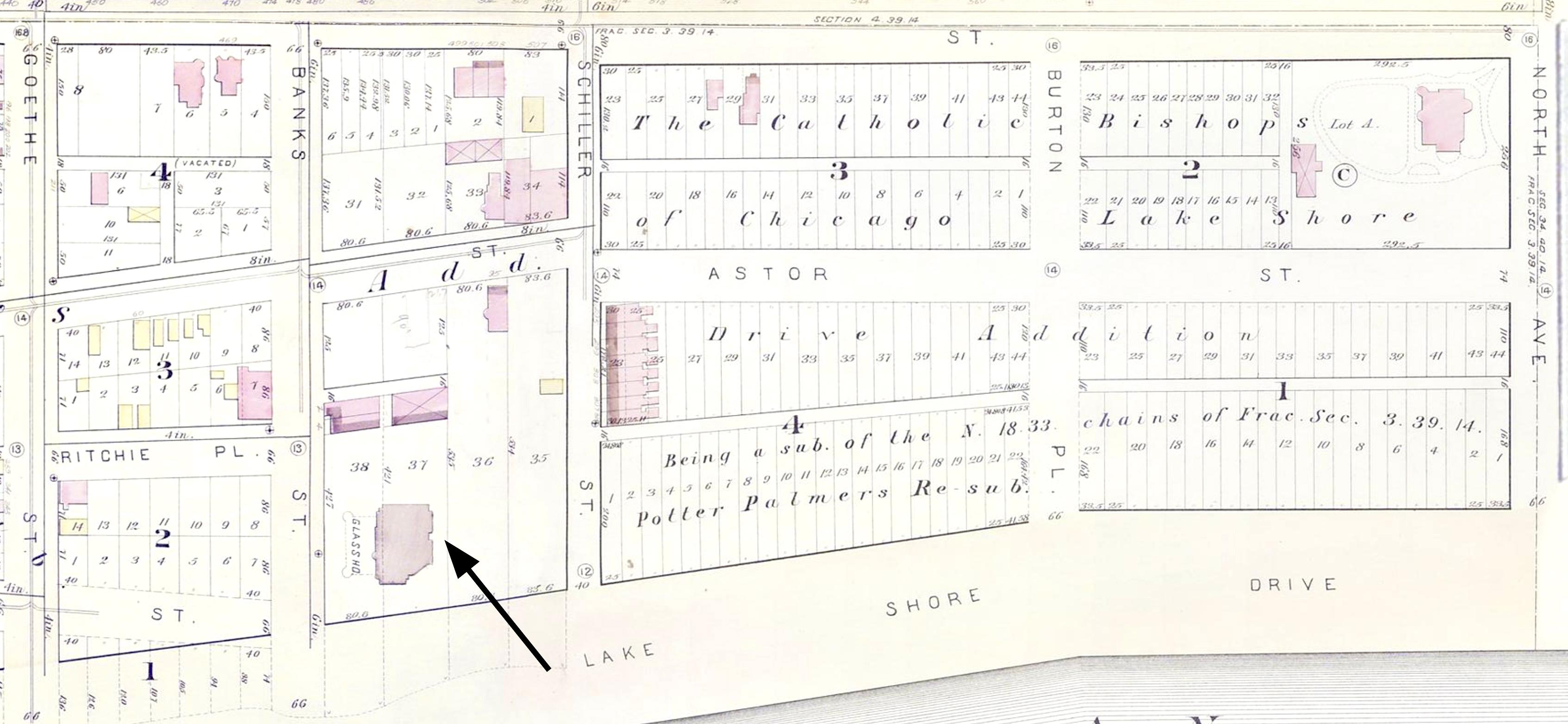 Potter Palmer Mansion - Chicago fire map