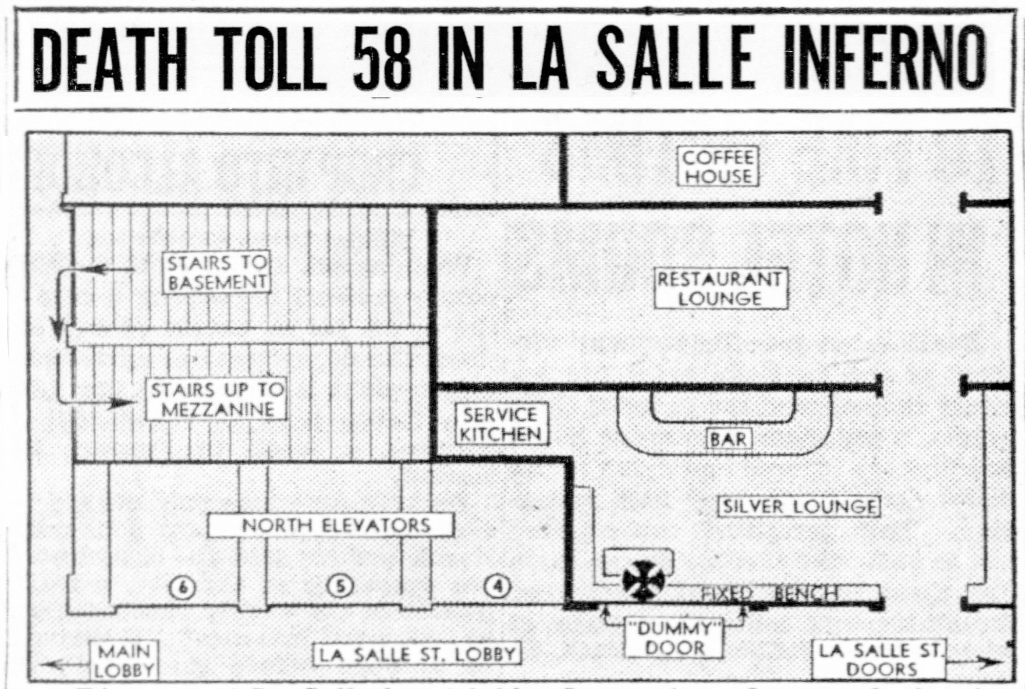 Lasalle Hotel Telephone Wiring Diagram Of The La Salle Lobby Floor Where Fire Raged Showing Proximity Lounge Bar To Elevators Center Blaze At Its Start